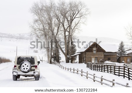 Winter farm in Steamboat Springs, Colorado. - stock photo