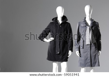 Winter fashion coat dress on mannequin - stock photo