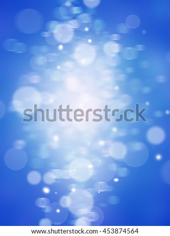 Winter Festive Christmas bluer abstract background with bokeh lights and stars . - stock photo