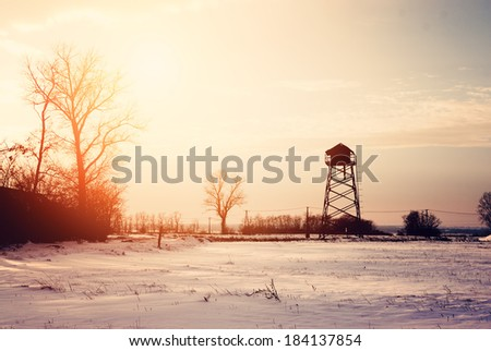 Winter field - stock photo