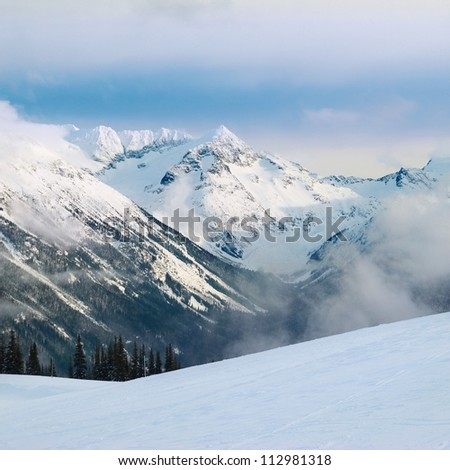 Winter fir trees in mountains covered with fresh snow - stock photo