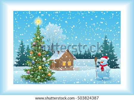 Winter Forest Landscape, Country House, Snowman, Snowflakes and Christmas Holiday Fir Tree with Decorations