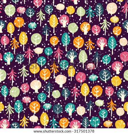 Winter forest seamless pattern. Childish background. Hand drawn design for fabric, wrapping paper, greeting cards or invitation. Christmas decoration. - stock photo