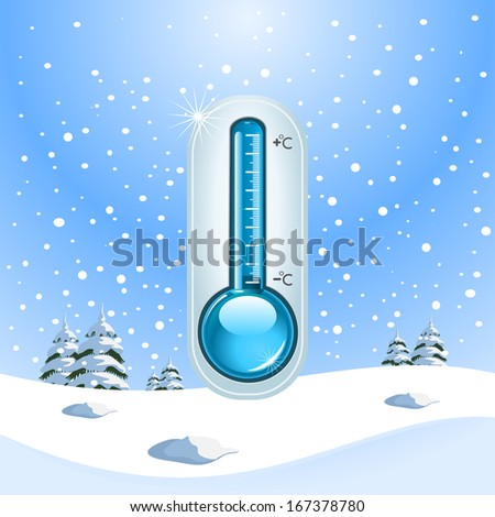 Winter Freeze Concept. Snow and freezing temperatures - stock photo