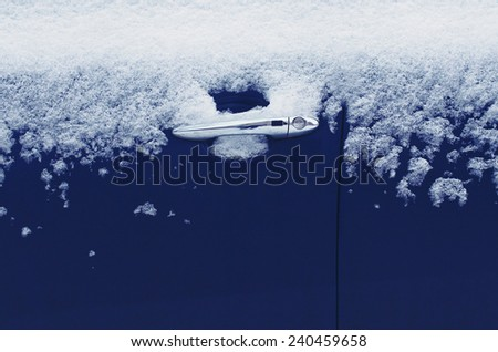 Winter freezing car, frozen door vehicle in the ice - stock photo