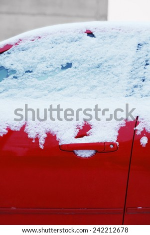 Winter freezing car window, frozen vehicle in the snow - stock photo