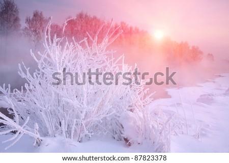 Winter frost haze landscape - stock photo