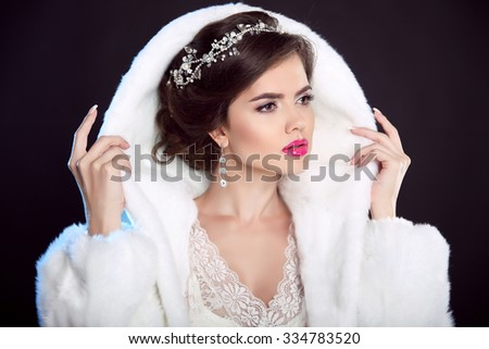 Winter Girl in Luxury fashion Fur Coat. Hairstyle. Makeup. Beautiful model woman in White Fur isolated on black background. diamond jewelry.