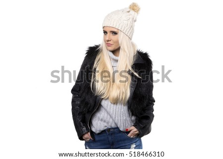 winter girl wearing knitted wear scarf. Excited beautiful smiling woman, winter concept, isolated