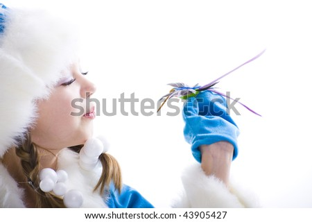 winter girl with bird