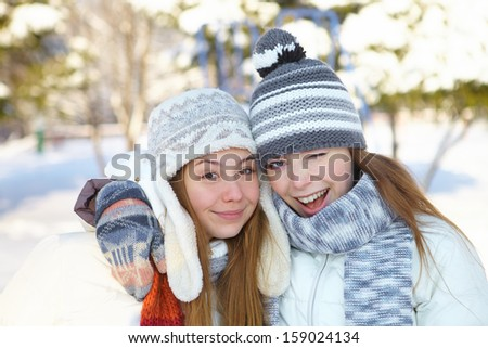 Winter. Girls outdoor.