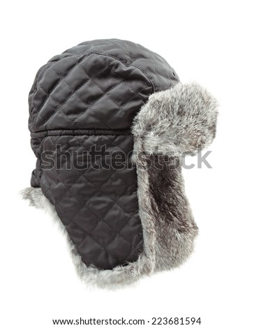 Winter hat with fur isolated on white background  - stock photo