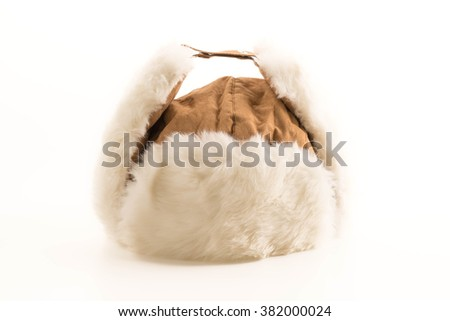 Winter hats on white background