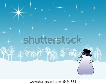 Winter holiday background with snowman