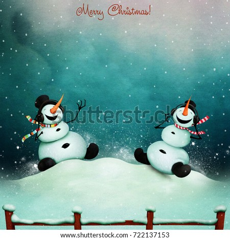 Winter holiday greeting card two cheerful stock illustration winter holiday greeting card with two cheerful snowman singing song m4hsunfo Images