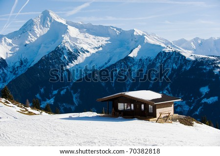 Winter holiday mountain house - stock photo