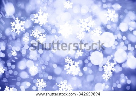 Winter Holiday Snow Background. Christmas Abstract De focused Backdrop with Snowflakes