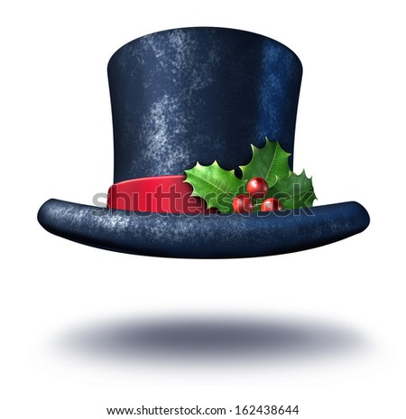 Winter holiday top hat with holly leaves red berries on a silk ribbon with a white background as a magical Christmas celebration icon and snowman symbol as a traditional seasonal design element. - stock photo