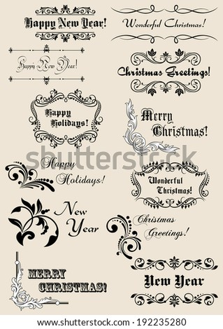 Winter holidays calligraphic elements with scripts and decorations for Christmas or New Year design. Vector version also available in gallery