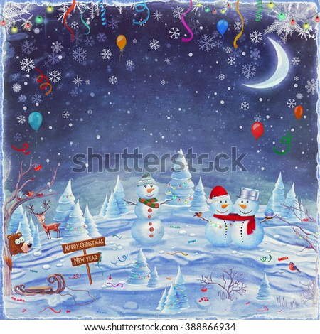 Winter holidays landscape with snowmen ,animals and decorations on the glade . Merry Christmas and Happy new year background - stock photo