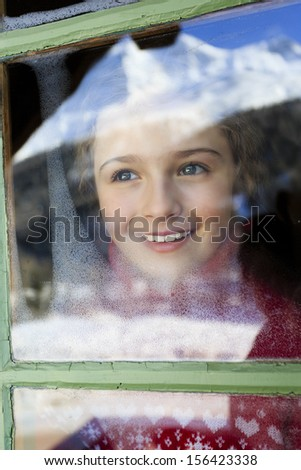 Winter holidays, ski holidays, apres ski - child in a room apartment - stock photo