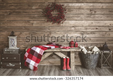 Winter home decor. Christmas rustic interior. Farmhouse decoration style. - stock photo