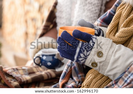Winter hot tea hands holding steaming mug countryside cottage - stock photo