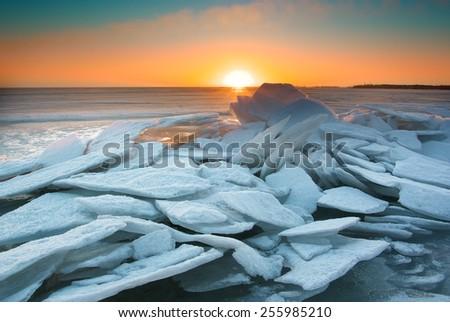 Winter ice landscape. Nature composition. - stock photo