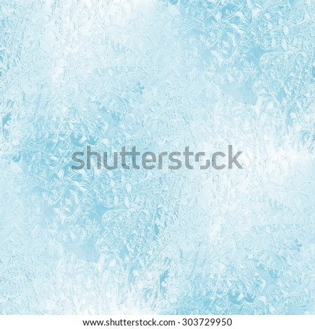 winter ice ornament on the glass, seamless pattern - stock photo
