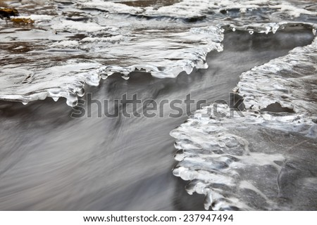 Winter icy stream. - stock photo