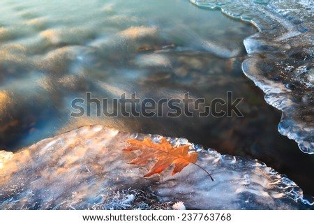 Winter icy stream and yellow leaf on the ice. Beautiful Christmas card.  - stock photo