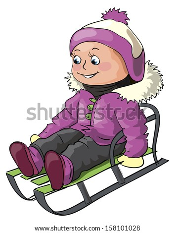 Winter illustration for children outdoor activity - a small girl riding on a sledge  - stock photo