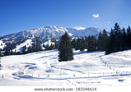 Winter in Allgau, Oberjoch and Bad Hindelang, Germany - stock photo