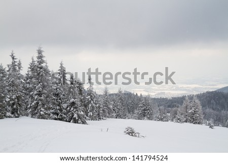 Winter in Beskidy Mountains, Poland - stock photo