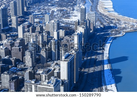 Winter In Chicago (Aerial View)
