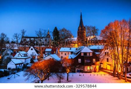 Winter in Erbach in Odenwald, Hessen, Germany - stock photo