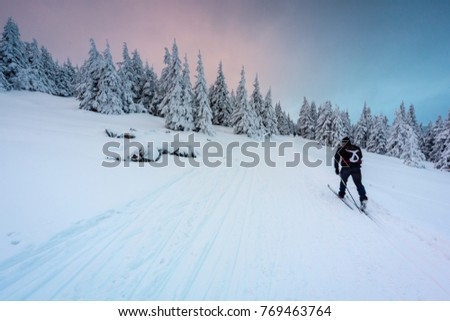 Winter in Jeseniky Mountains. Fresh snow makes great atmosphere.