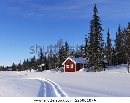 winter in lapland in Sweden - stock photo