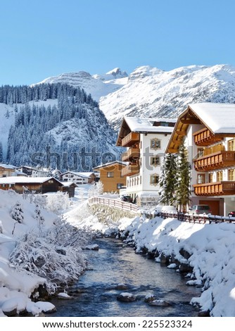 Winter in Lech am Arlberg in the Austrian alps - stock photo
