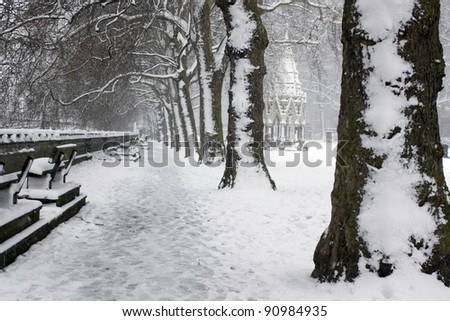 Winter  in London. - stock photo