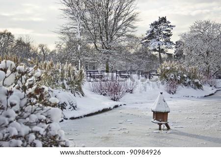 Winter  in London. Golders Green Park - stock photo