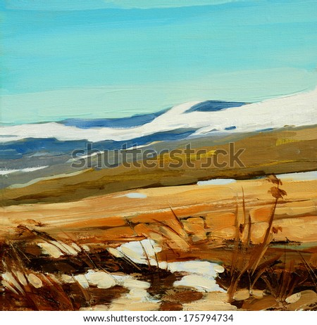 winter in mountains, painting on a canvas, illustration - stock photo