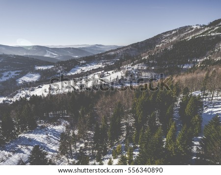 Winter in mountains. View from above. Szczyrk.Poland.