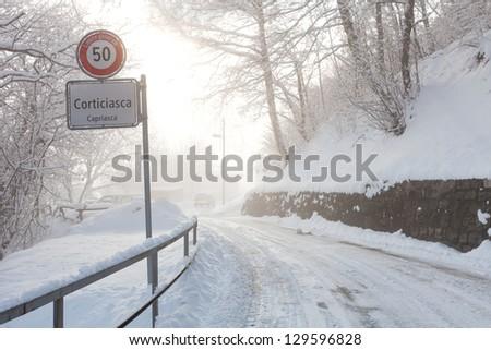 winter in south switzerland - stock photo