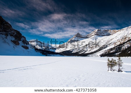 Winter in the mountains Bow Lake Banff National Park Alberta Canada