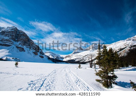 Winter in the mountains Bow Lake Banff National Park Alberta Canada - stock photo