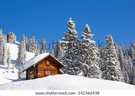Winter in the swiss alps (Braunwald, Glarus, Switzerland) - stock photo