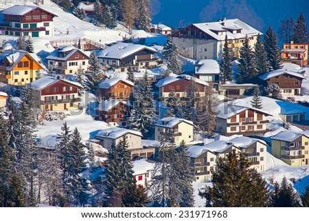 Winter in the swiss alps, Switzerland - stock photo