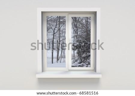 Winter in the window - stock photo