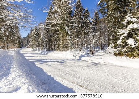 winter in valley Isartal in Bavaria in the German Alps - stock photo